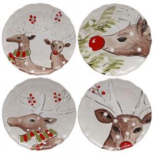 Deer Teller 4er Set ø 27 cm, weiss
