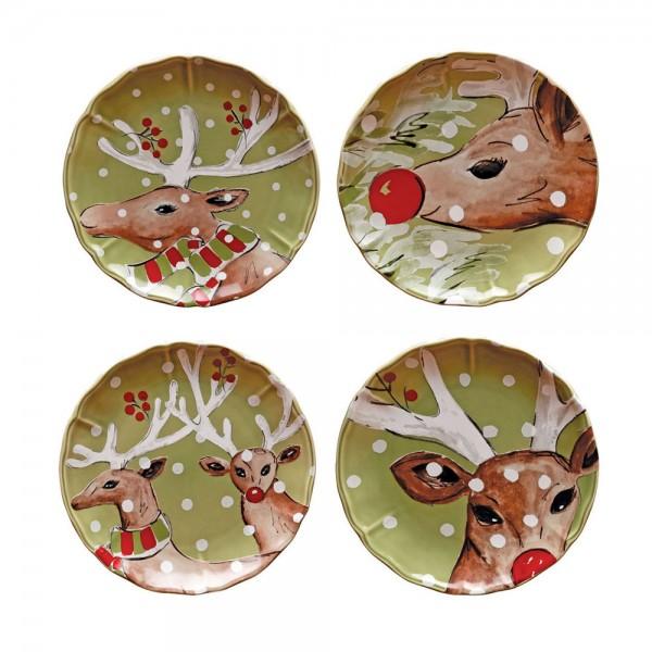 Deer Teller 4er Set ø 21.4 cm, grün