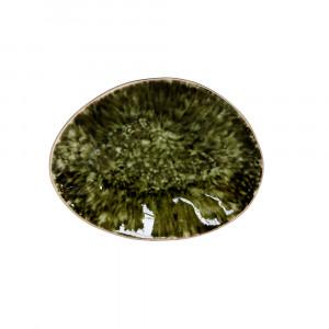 Riviera Teller oval  16 x 12 cm tannen grün
