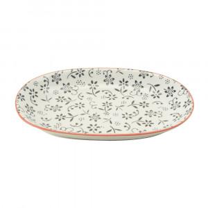 Haynan Ovale Platte schwarz, Rand rot L 23.5 cm