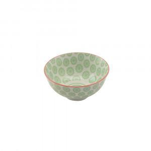 Haynan Schale grün, Rand rot ø 12 cm