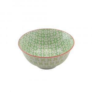 Haynan Schale grün, Rand rot ø 15.5 cm