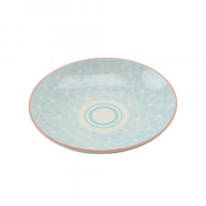 Haynan Teller blau, Rand rot ø 21.5 cm