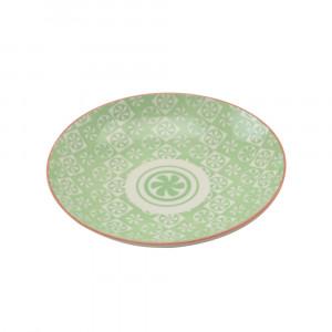 Haynan Teller grün, Rand rot ø 21.5 cm
