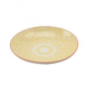 Haynan Teller gelb, Rand rot ø 21.5 cm