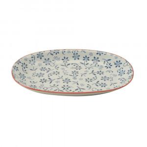 Haynan Ovale Platte navyblau, Rand rot L 23.5 cm