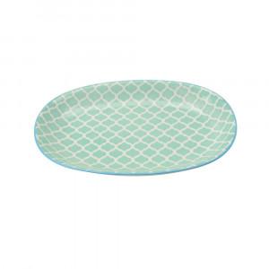 Haynan Ovale Platte türkis, Rand blau L 23.5 cm