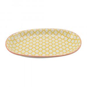 Haynan Ovale Platte gelb, Rand rot L 23.5 cm