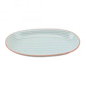Haynan Ovale Platte blau, Rand rot L 23.5 cm