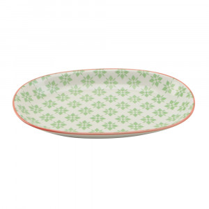 Haynan Ovale Platte grün, Rand rot L 23.5 cm