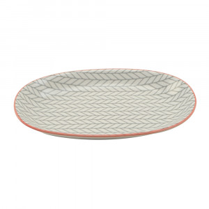 Haynan Ovale Platte grau, Rand rot L 23.5 cm