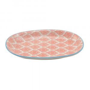 Haynan Ovale Platte rot, Rand blau L 23.5 cm