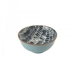 Indiba Schale ciel-blau, Innen Indigoblaues Batikdekor ø 12 cm