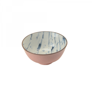 Indiba Schale rosa, Innen Indigoblaues Batikdekor ø 12 cm