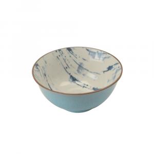 Indiba Schale ciel-blau, Innen Indigoblaues Batikdekor ø 15.5 cm
