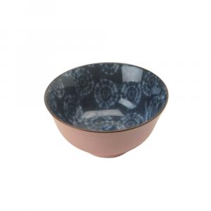 Indiba Schale rosa, Innen Indigoblaues Batikdekor ø 15.5 cm