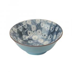 Indiba Schale ciel-blau, Innen Indigoblaues Batikdekor ø 21 cm