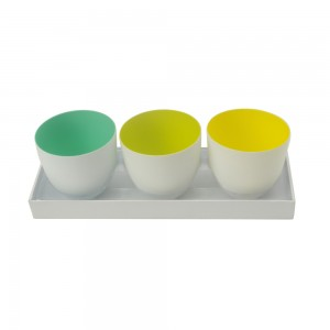 3er Set Windlicht hellgrün, lime, gelb