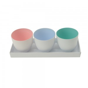 3er Set Windlicht rose, hellviolett,aqua