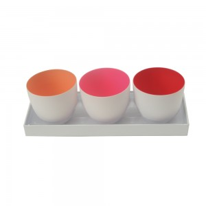 3er Set Windlicht orange, hellrot, rot