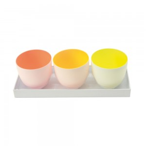 3er Set Windlicht orange, gelb, hellgelb