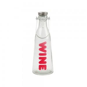 Bügelflasche mit Aufdruck WINE, present time