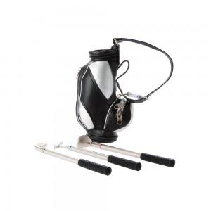 Golftasche (mini) mit 3 Kugelschreibern, rot, blau, schwarz, present time